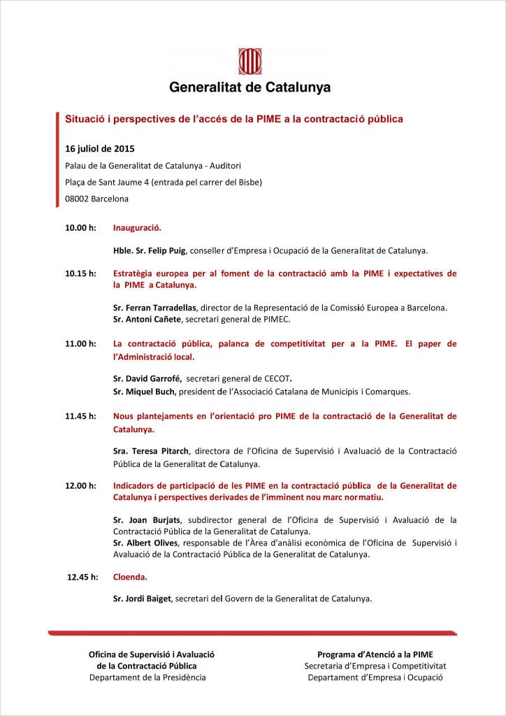 """REPROGIR A LA JORNADA """"SITUACIÓ I PERSPECTIVES DE L'ACCÉS DE LA PIME A LA CONTRACTACIÓ PÚBLICA"""""""